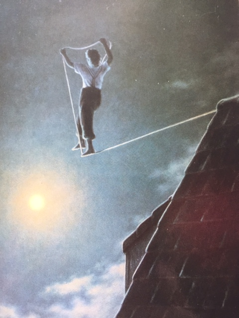 man walking on a tightrope to the moon. The tightrope is being laid down by him as he goes.  His gaze is steady on the moon.  His back is to us.